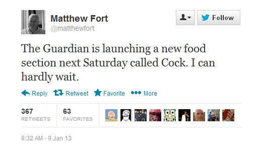 Matthew Fort Tweet