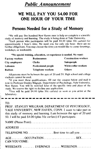 Stanley Milgram Experiment advertising