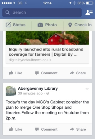 Abergavenny library FB post on livestreaming